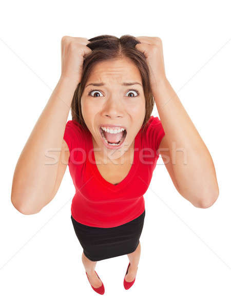 Korkmuş kadın kamera komik Stok fotoğraf © Ariwasabi