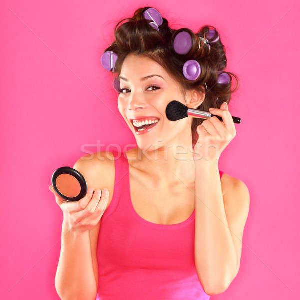 Smink nő bőrpír kész jókedv vicces Stock fotó © Ariwasabi