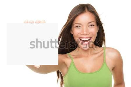 Cartão de presente assinar mulher animado jovem feminino Foto stock © Ariwasabi