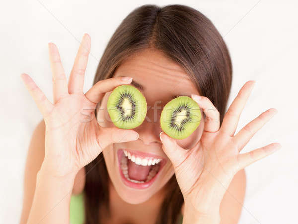Kiwi fruit woman fun Stock photo © Ariwasabi