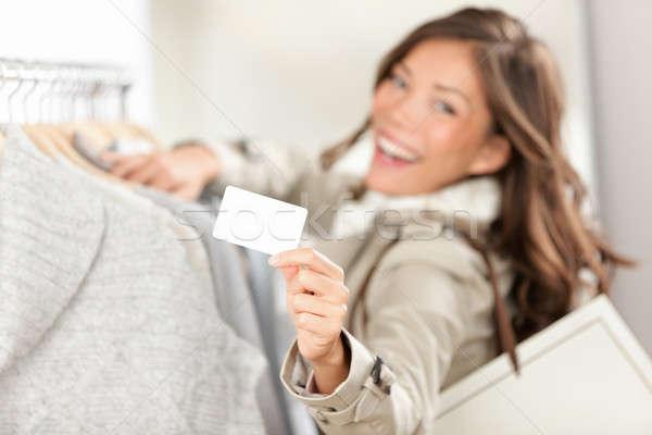 Photo stock: Shopping · carte-cadeau · signe · femme