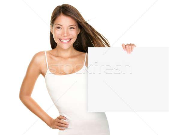 Papír felirat nő mosolyog aranyos friss lány Stock fotó © Ariwasabi