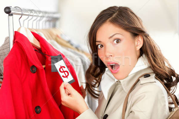 Photo stock: Shopping · femme · prix · étonné · regarder
