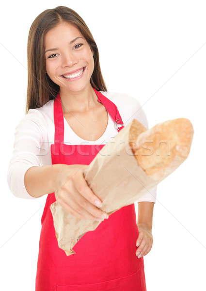 Foto stock: Mulher · de · vendas · pão · sorrindo · cliente