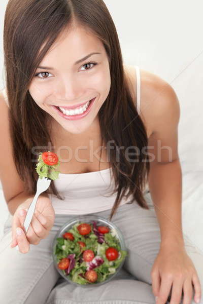 Salad woman eating healthy Stock photo © Ariwasabi
