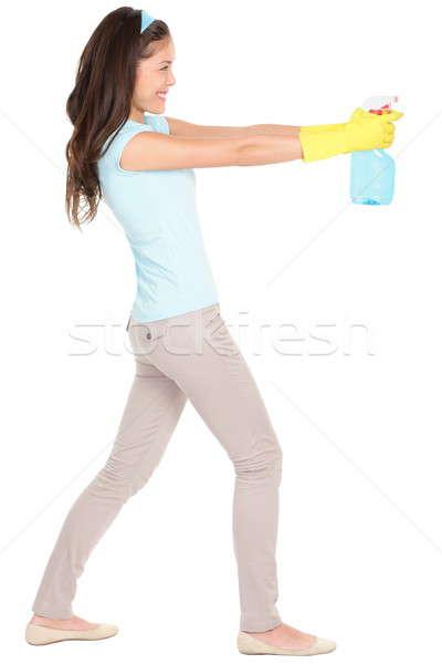 Stok fotoğraf: Kadın · temizlik · eğlence · yalıtılmış · işaret · temizlik · sprey