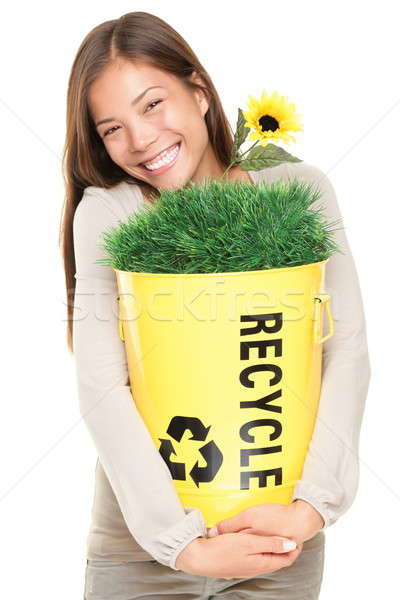Femme recyclage souriant portrait Photo stock © Ariwasabi