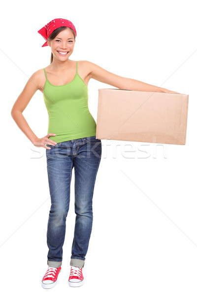 Moving day woman isolated Stock photo © Ariwasabi