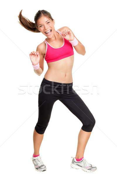 Zumba fitness woman dans yalıtılmış beyaz Stok fotoğraf © Ariwasabi