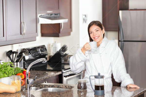 Woman drinking morning coffee Stock photo © Ariwasabi