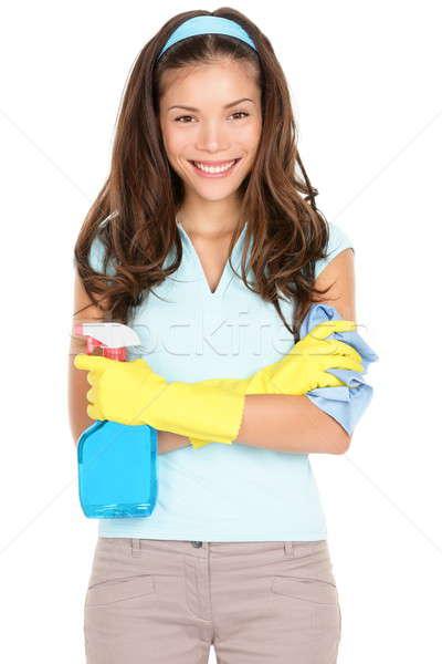 Stock fotó: Tavaszi · nagytakarítás · nő · kész · mosolyog · gumikesztyű · takarítószerek