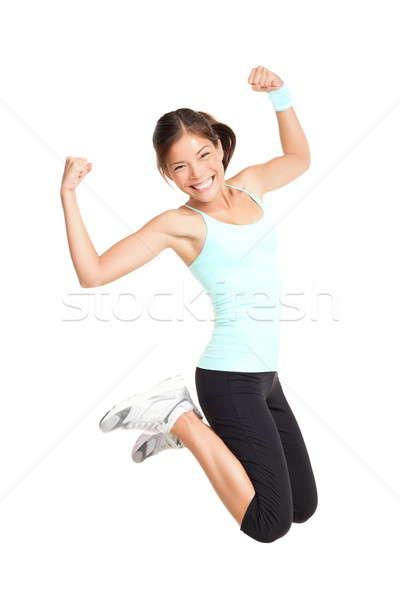 Сток-фото: Фитнес-женщины · прыжки · возбужденный · изолированный · белый