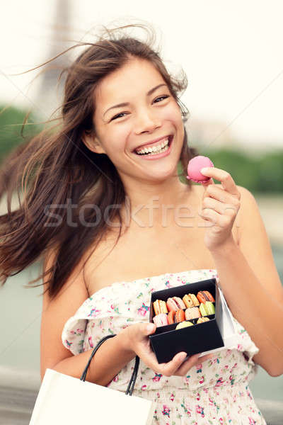 Paris woman eating french macaron Stock photo © Ariwasabi