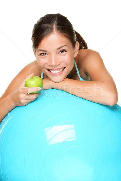 Stock fotó: Sport · fitnessz · nő · testmozgás · pilates · labda · eszik