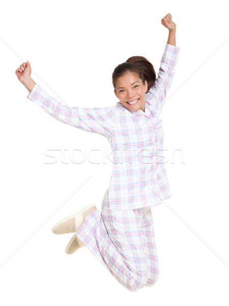 Vrouw springen ochtend vers pyjama vrolijk Stockfoto © Ariwasabi