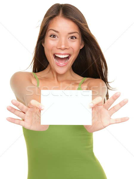 Stock photo: Gift card woman excited