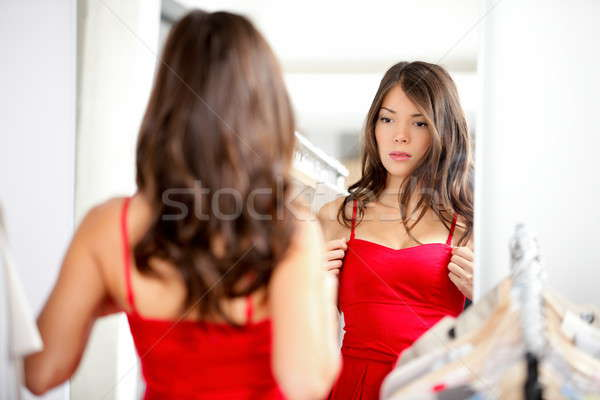 Photo stock: Femme · vêtements · regarder · miroir · robe · belle