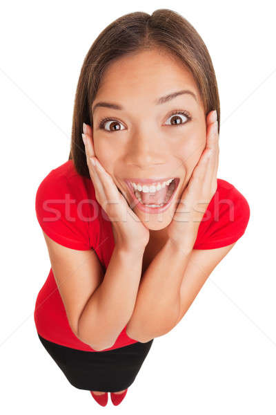 Joyful excited surprised young woman isolated Stock photo © Ariwasabi