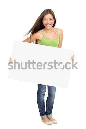 Woman showing billboard sign Stock photo © Ariwasabi