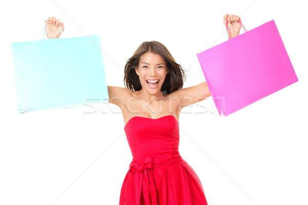 Stock foto: Einkaufstaschen · Frau · aufgeregt · Warenkorb · roten · Kleid