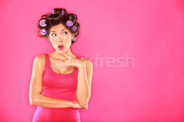 Funny beauty woman with hair rollers Stock photo © Ariwasabi
