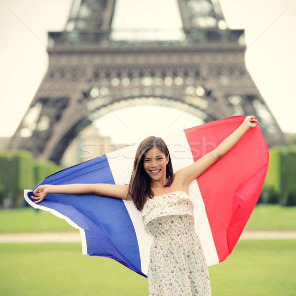 Paris woman French flag Stock photo © Ariwasabi