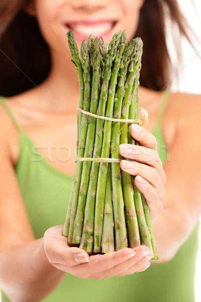アスパラガス 女性 クローズアップ 健康的な食事 ストックフォト © Ariwasabi