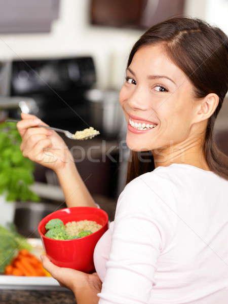 woman eating quinoa salad Stock photo © Ariwasabi