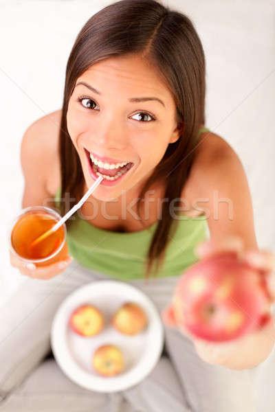 リンゴジュース 女性 飲料 リンゴ 幸せ ストックフォト © Ariwasabi