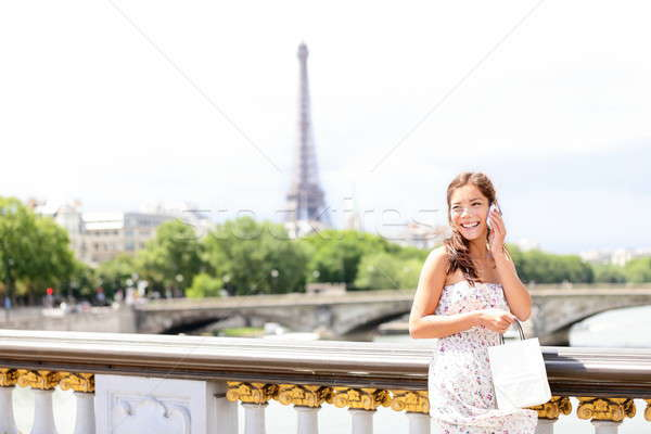 Paris woman on phone Stock photo © Ariwasabi