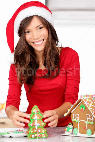 Christmas activities - gingerbread house Stock photo © Ariwasabi