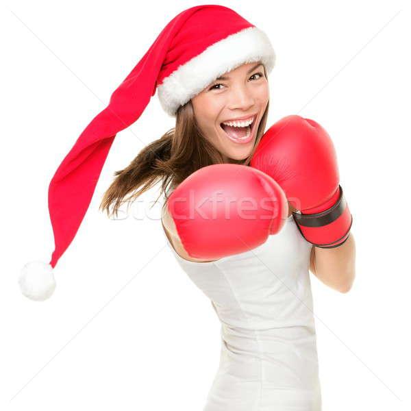 クリスマス ボクシング 女性 着用 ボクシンググローブ 赤 ストックフォト © Ariwasabi