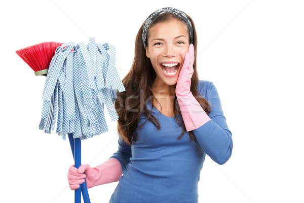 Foto d'archivio: Pulizia · felice · donna · sorpreso · casa · donna · delle · pulizie