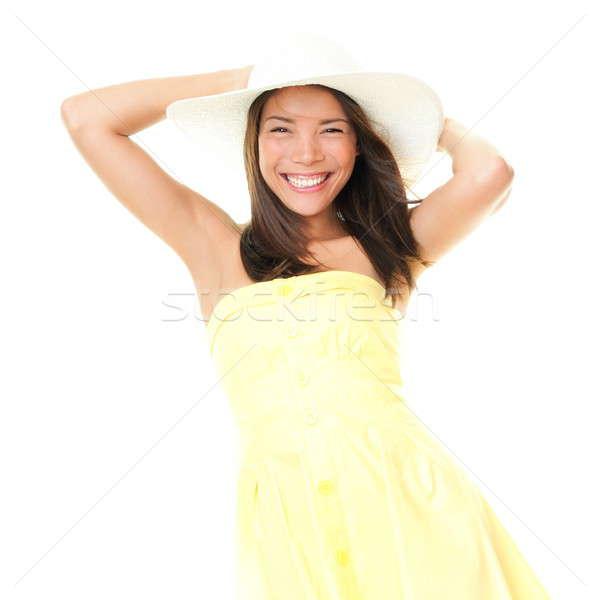 Gülümseyen yaz elbise yalıtılmış Stok fotoğraf © Ariwasabi