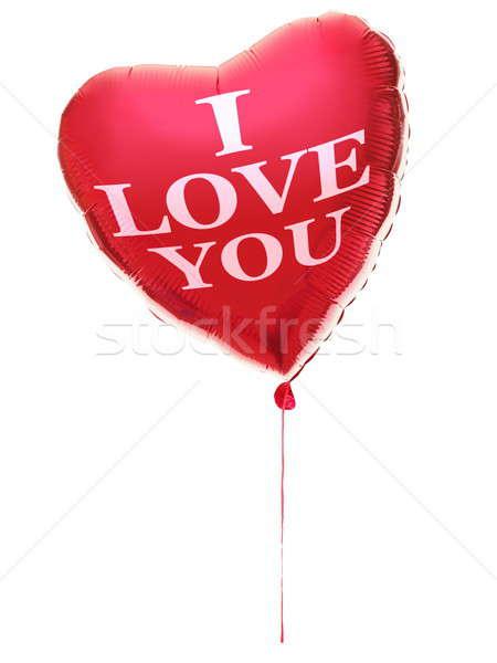 ストックフォト: 中心 · バルーン · 愛 · バレンタインデー · 文字 · 赤