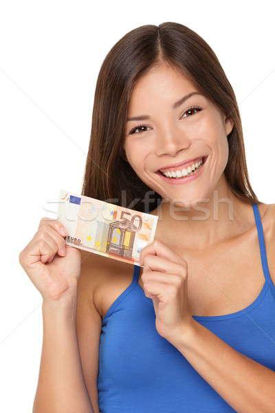 Woman showing euro money Stock photo © Ariwasabi