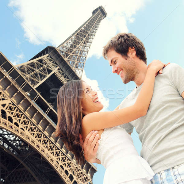 Paris Eiffel tower romantic couple Stock photo © Ariwasabi