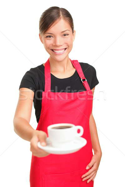 Waitress serving coffee Stock photo © Ariwasabi