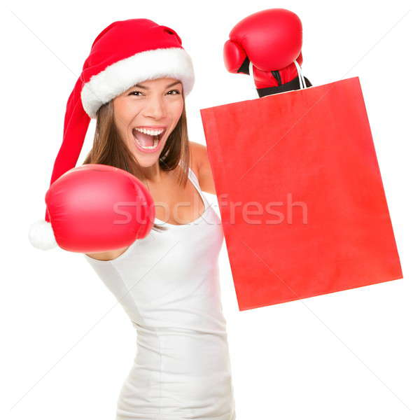 Stock photo: Boxing day shopping woman
