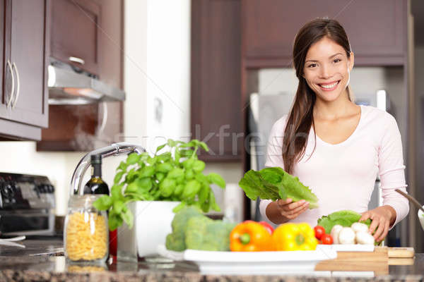 Woman cooking in new kitchen Stock photo © Ariwasabi
