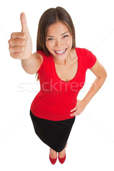 Stock fotó: Boldog · nő · remek · kézmozdulat · jókedv · magasról · fotózva