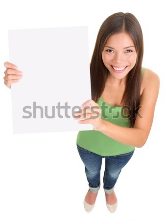 Stock photo: Blank sign woman isolated