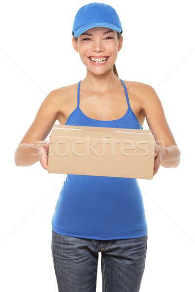 Femeie persoană pachete albastru Imagine de stoc © Ariwasabi