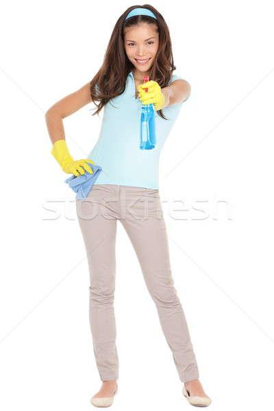 Foto d'archivio: Pulizie · di · primavera · donna · divertimento · punta · pulizia · spray