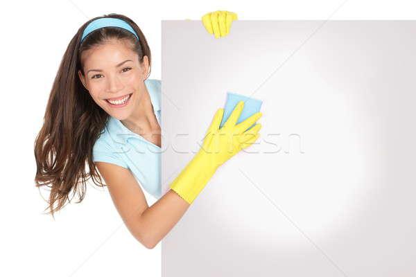 Foto d'archivio: Donna · delle · pulizie · segno · cartellone · pulizia