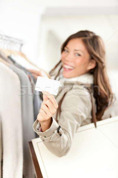 Compras tarjeta de regalo mujer feliz tarjeta de visita Foto stock © Ariwasabi