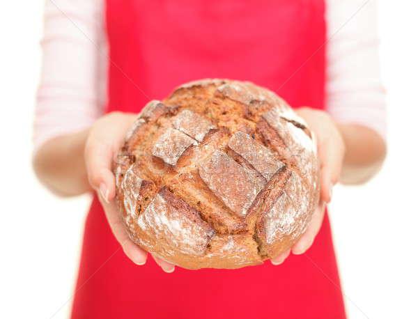 Foto stock: Pão · mulher · fresco