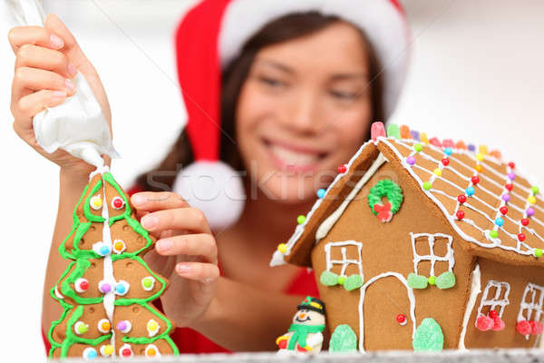 girl making gingerbread house Stock photo © Ariwasabi