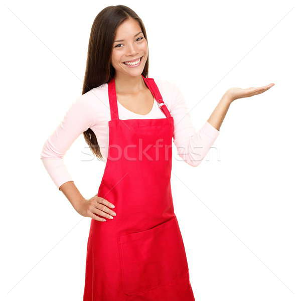 small shop owner showing in apron Stock photo © Ariwasabi
