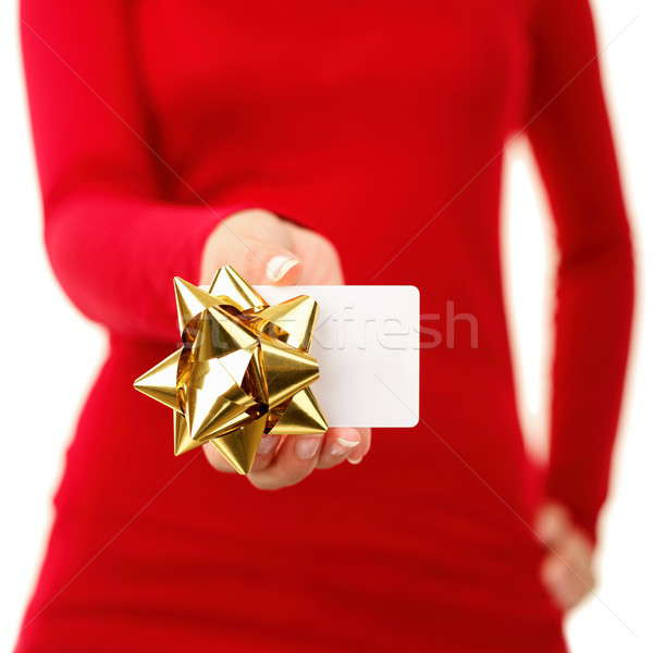 Tarjeta de regalo mujer signo primer plano tarjeta Foto stock © Ariwasabi